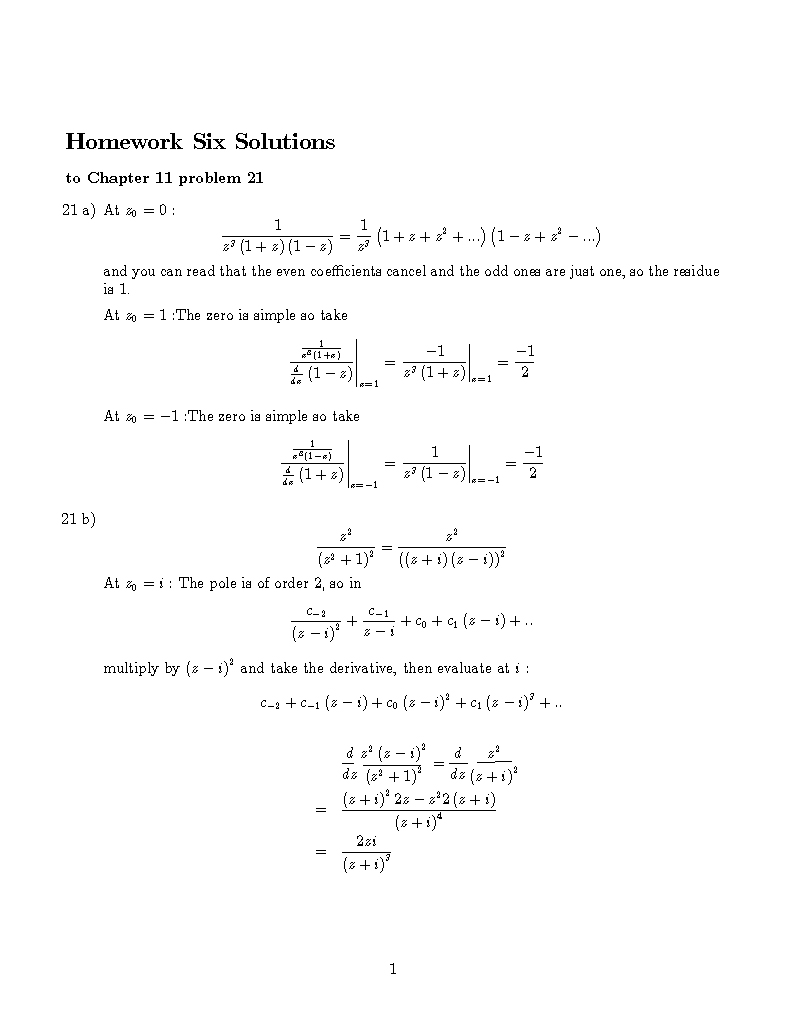 MA 410 Complex Analysis 2003 BLOCK 7